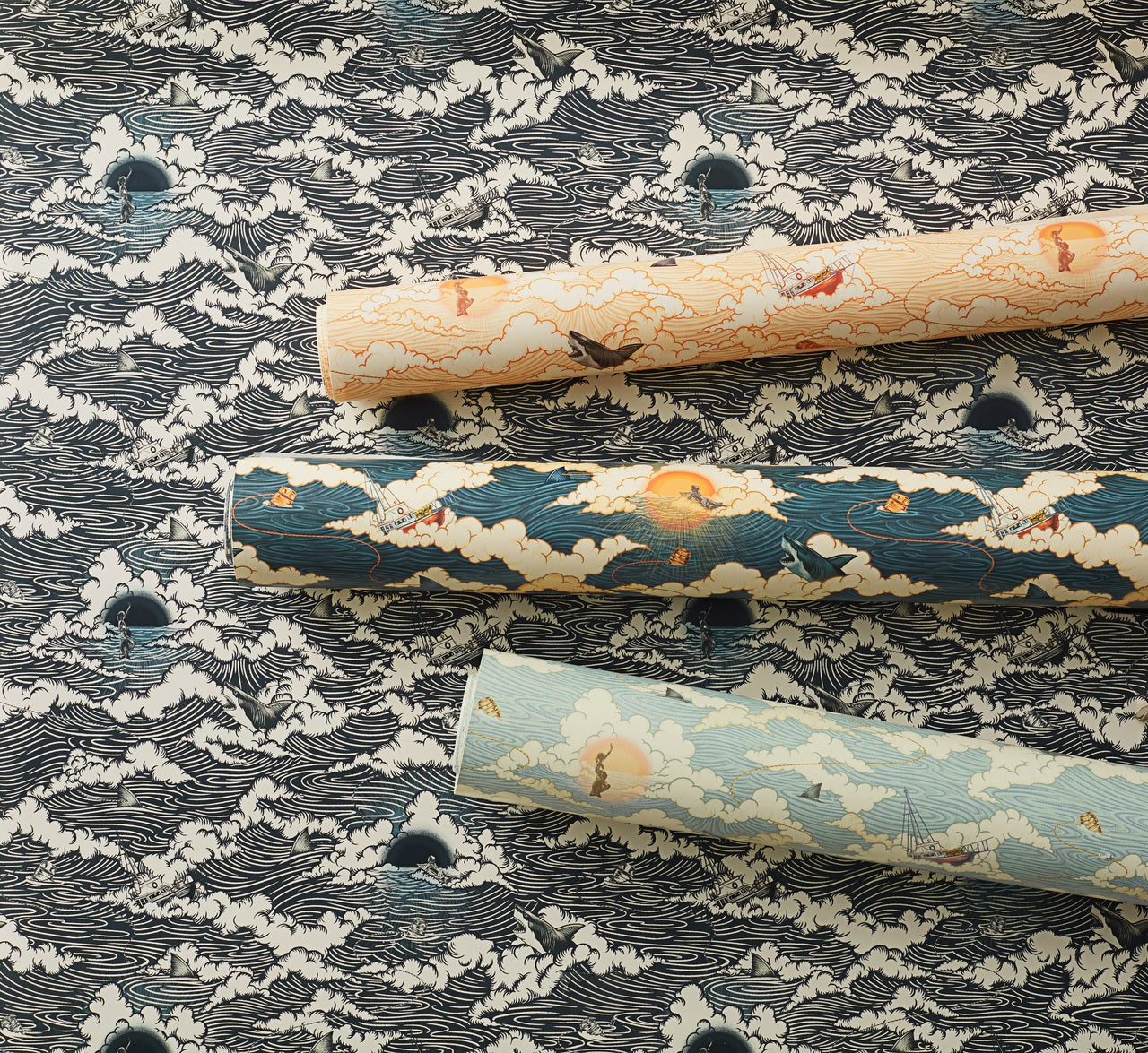 Amity Sunset pattern inspired by Jaws   Universal + Hygge & West wallpaper and shower curtain collection