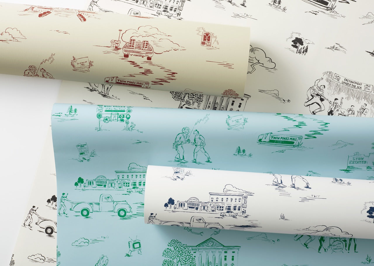 Hill Valley Toile pattern inspired by Back to the Future   Universal + Hygge & West wallpaper and shower curtain collection