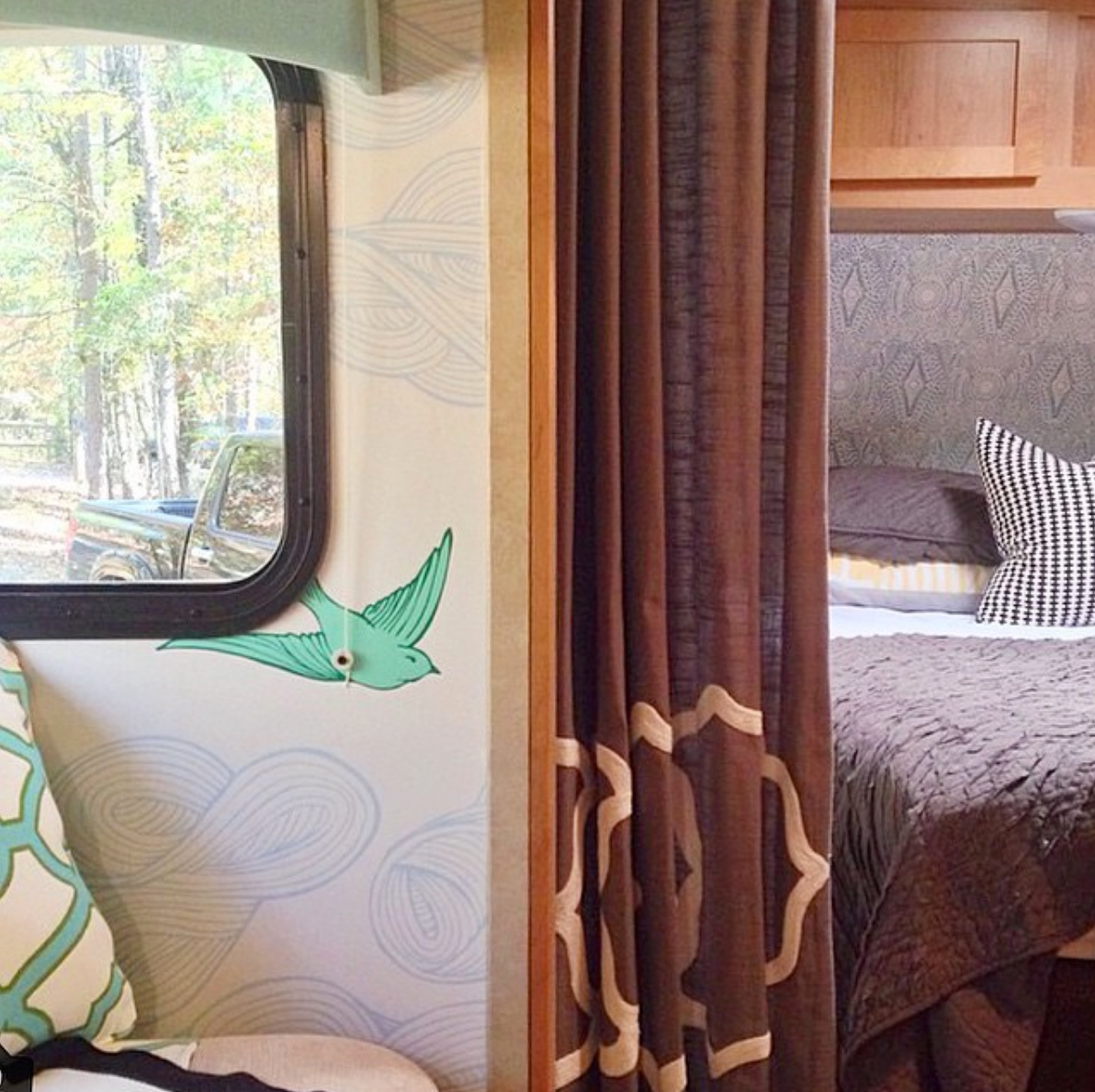 Wallpapered Winnebago in Daydream Green and Diamante Turquoise
