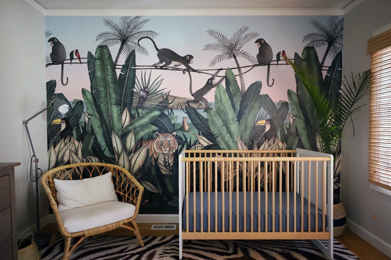 Nursery Before & After | Bengal Sunrise mural | Allira Tee | Hygge & West