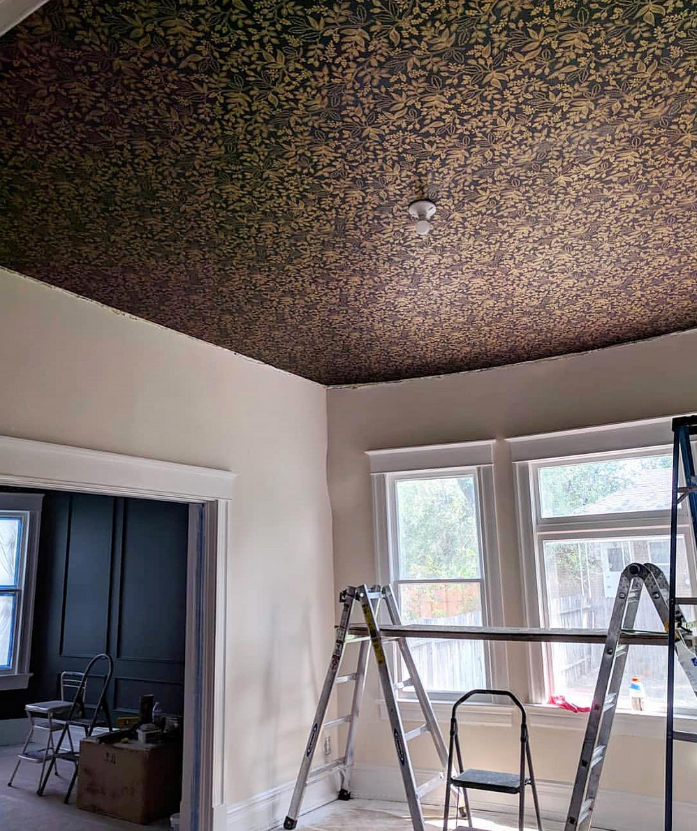 Best Wallpapers for a Ceiling Roundup | Queen Anne (Ebony)