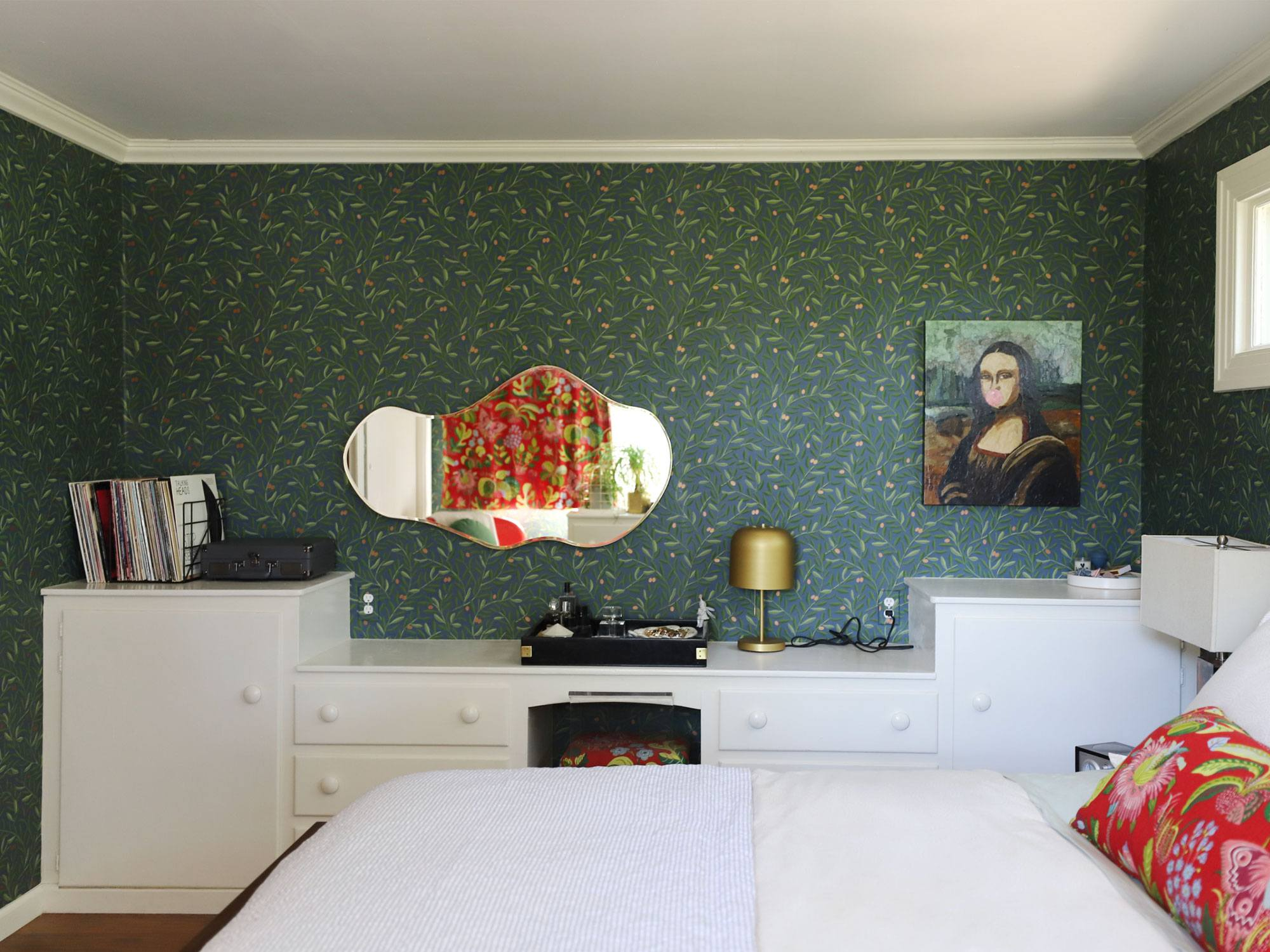 Olive Grove (Midnight) wallpaper from Schoolhouse + Hygge & West collection in H&W co-founder Christiana Coop's California farmhouse bedroom