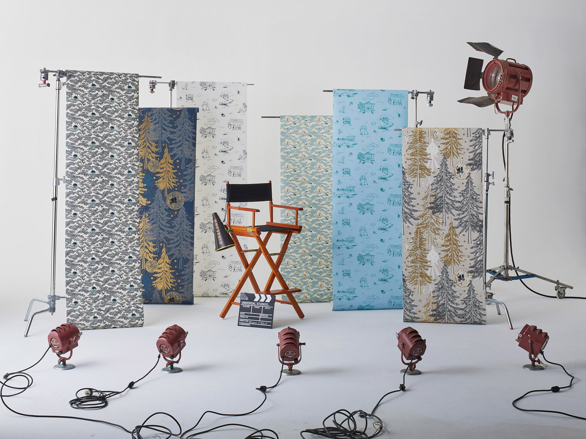 Universal + Hygge & West wallpaper and shower curtain collection