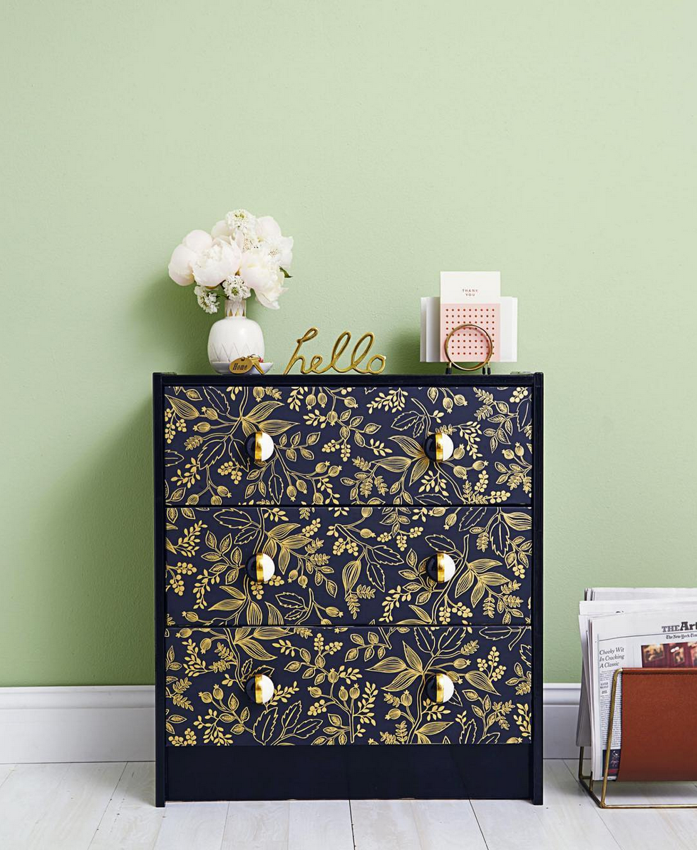 Wallpapered dresser | Queen Anne Ebony | Ikea Hack | Hygge & West