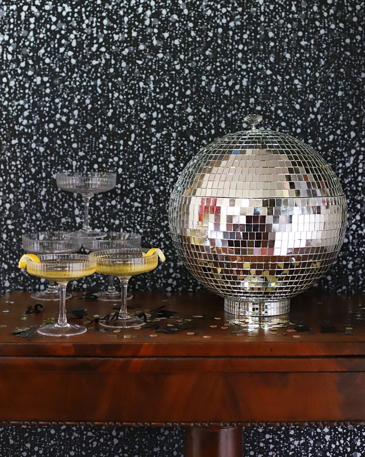 Snow (Ebony) Wallpaper | Disco Ball Punch Bowl | French 750