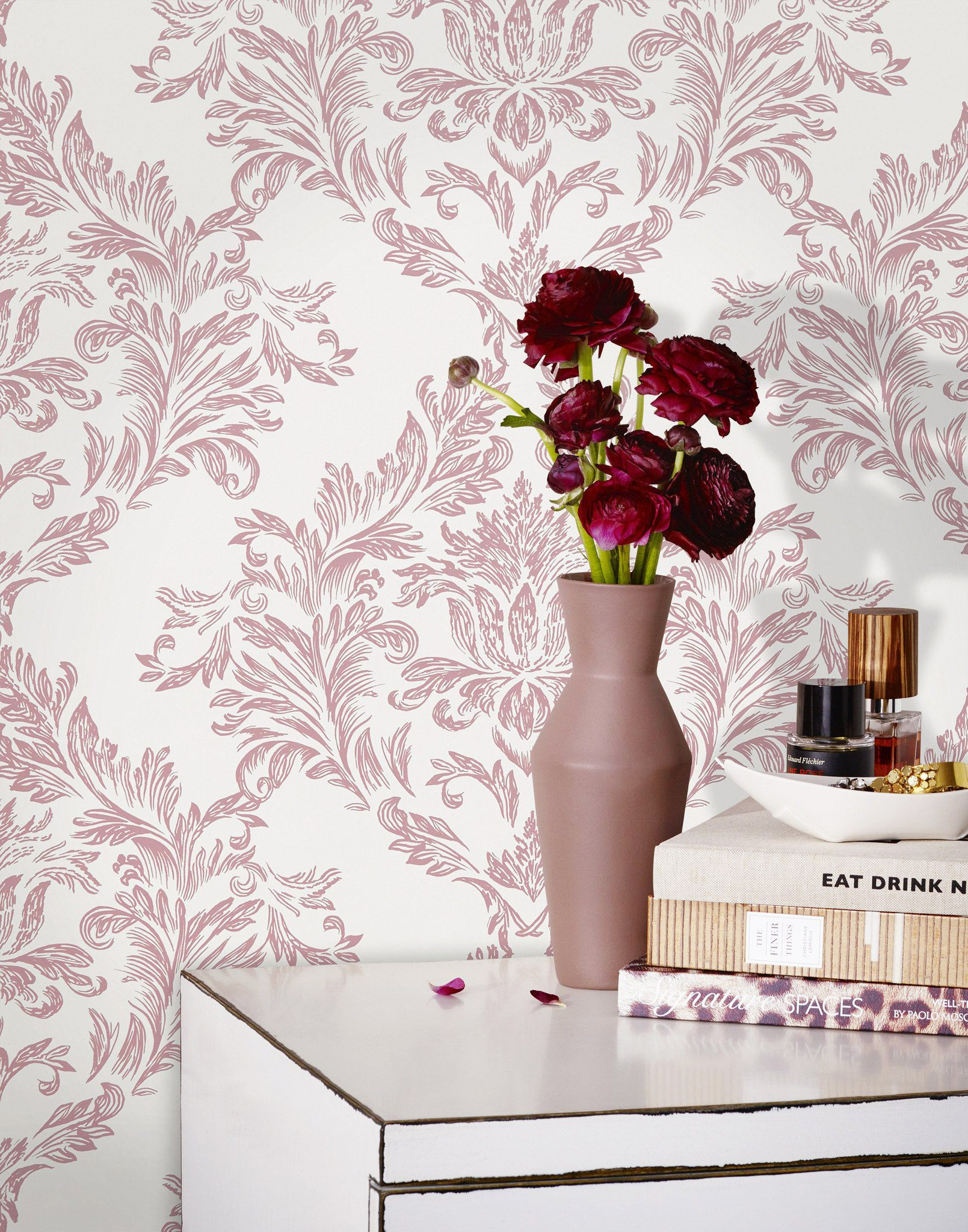 Mother's Day Gift Guide | Damask Dusty Rose wallpaper | Laundry Studio | Hygge & West