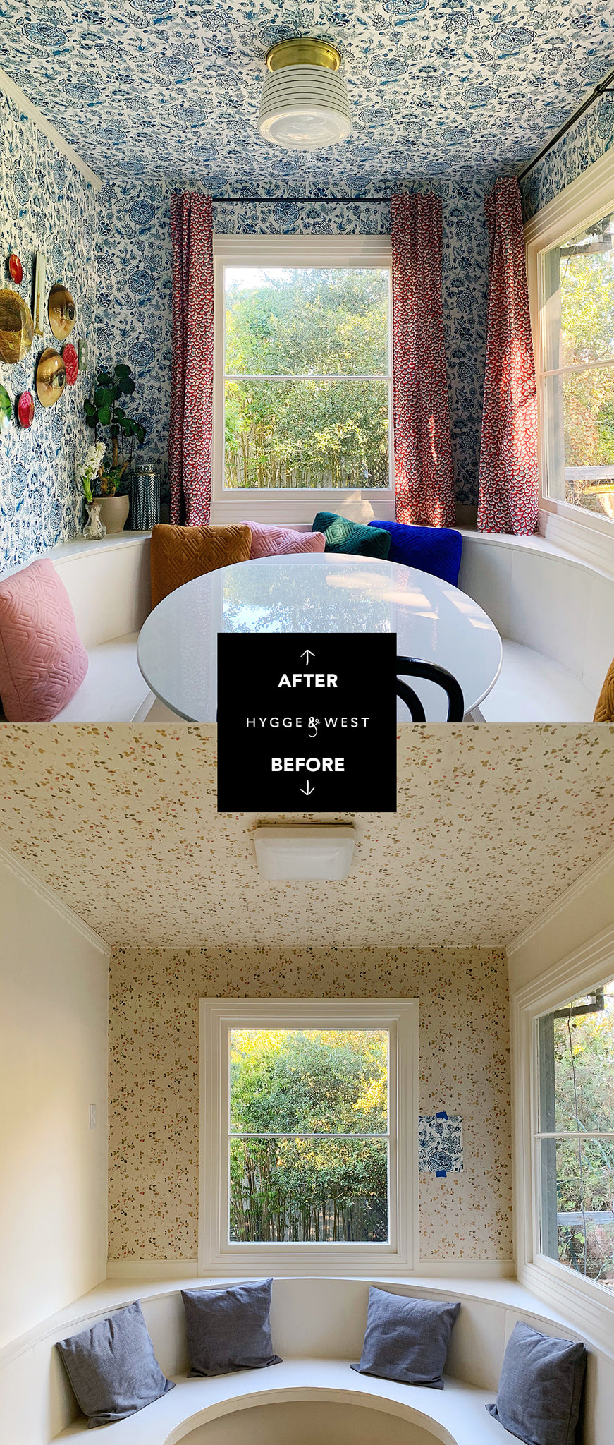 Kitchen Nook Before and After | Florebela Navy | Hygge & West