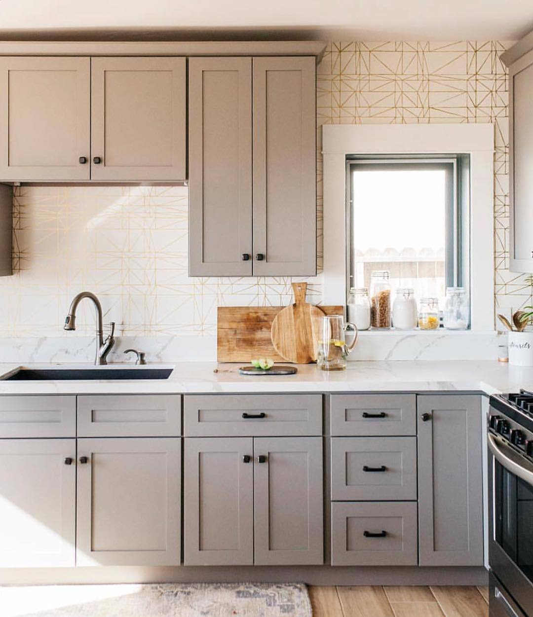 Our Favorite Patterns for the Kitchen | Strike Gold wallpaper | Heath Ceramics | Hygge & West