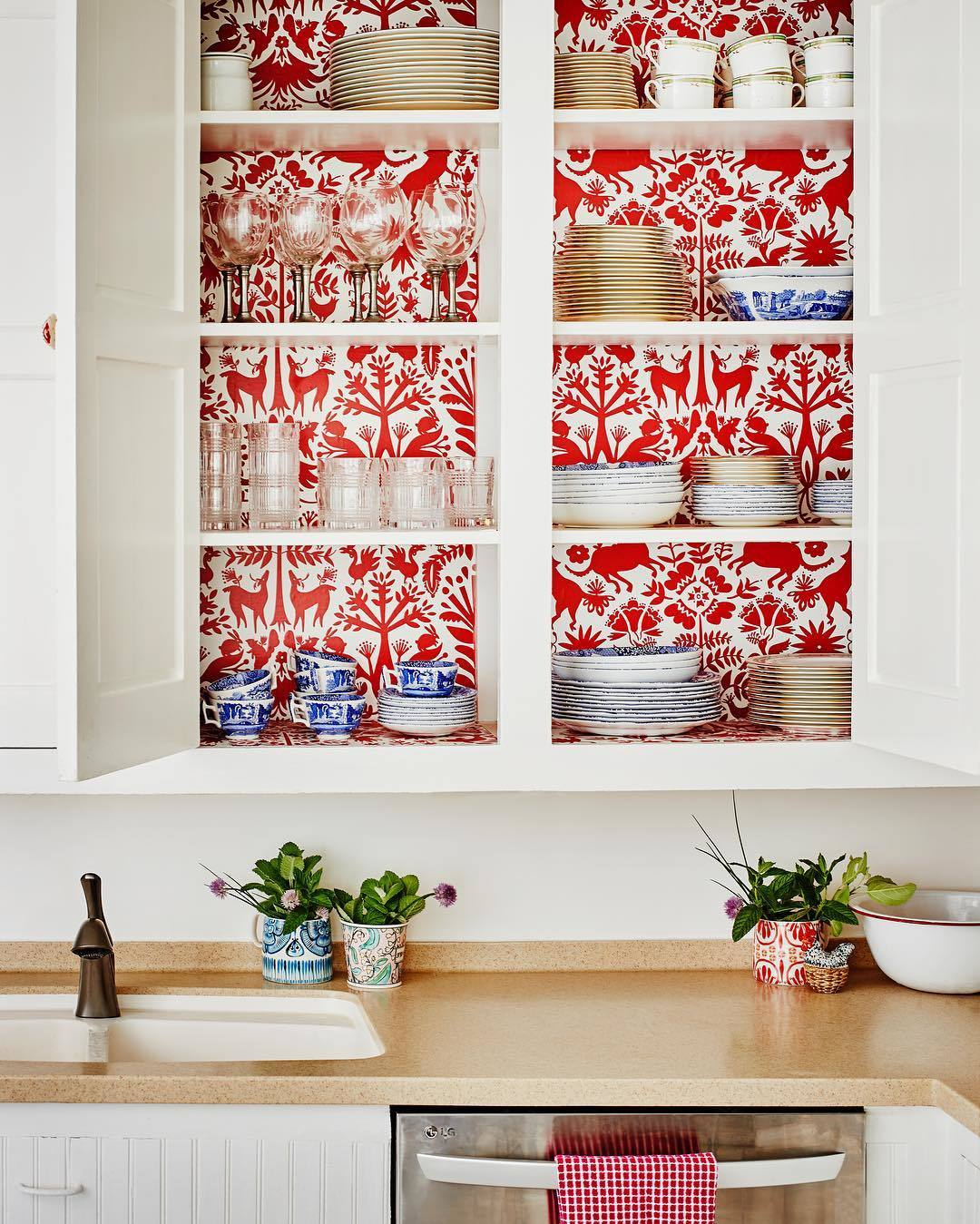 Our Favorite Patterns for the Kitchen | Otomi Red wallpaper | Emily Isabella | Hygge & West