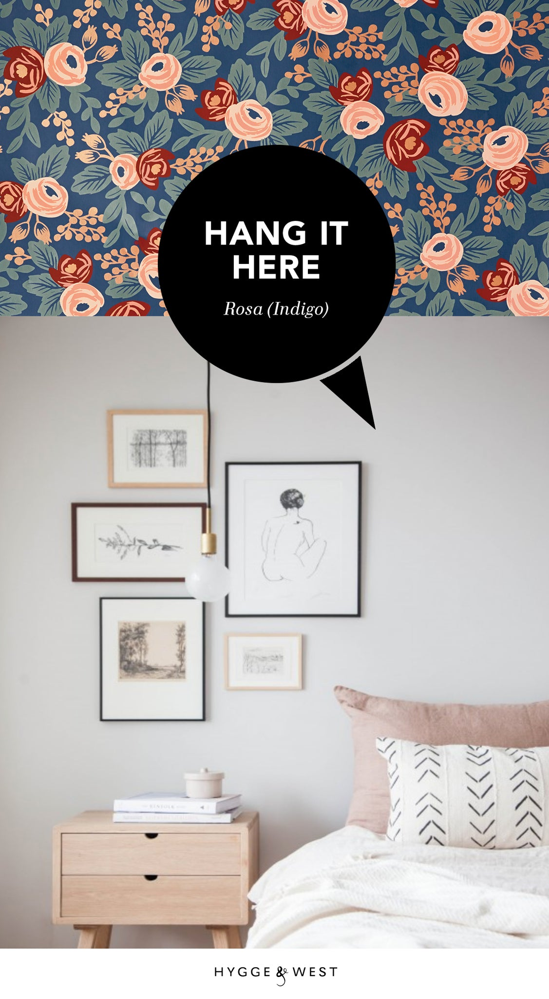 Hang It Here | Rosa (Indigo) designed by Rifle Paper Co