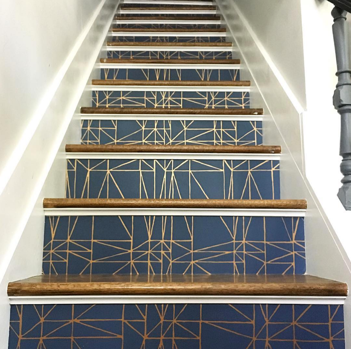 Hygge & West Top Nine | Strike (Navy) Wallpapered Stairs