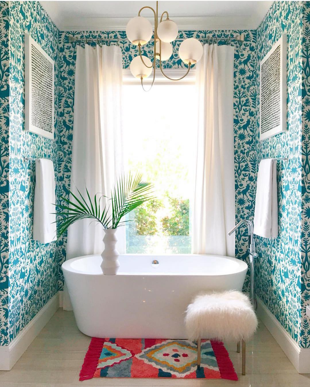 Otomi Turquoise wallpaper | Emily Isabella | Favorite Full Bathrooms Roundup | Hygge & West