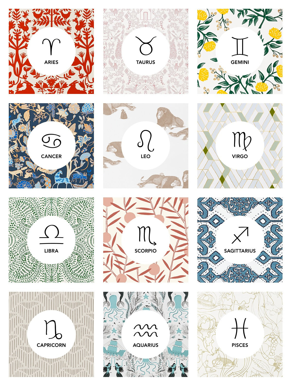 It's Wallpapered in the Stars | Pattern and Zodiac Sign Pairings | Hygge & West