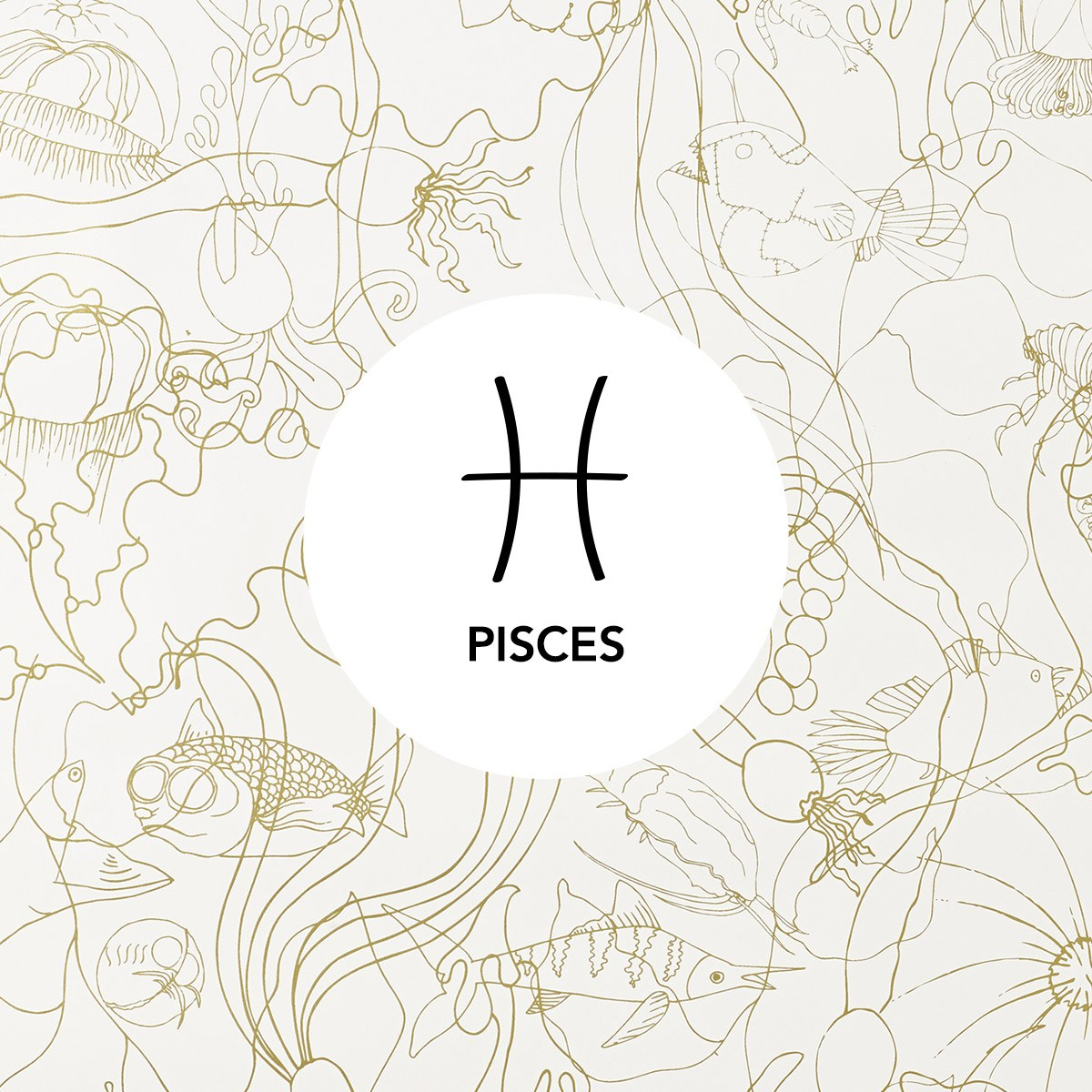 Pisces | Underwater World Gold wallpaper | Pattern People | Hygge & West