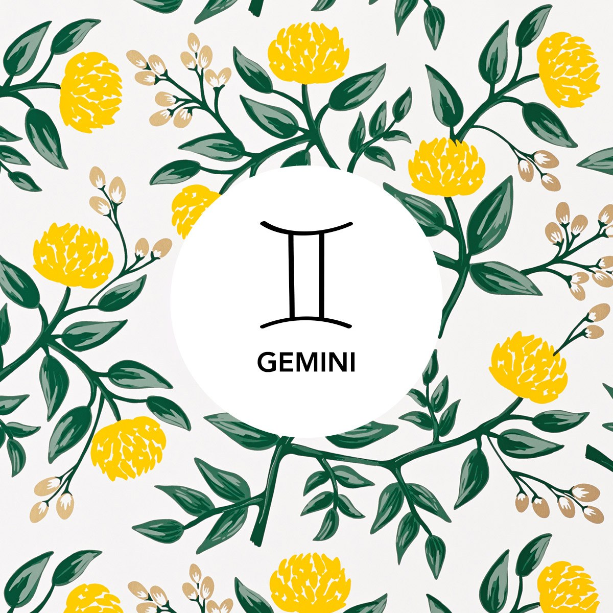 Gemini | Peonies Yellow wallpaper | Rifle Paper Co. | Hygge & West