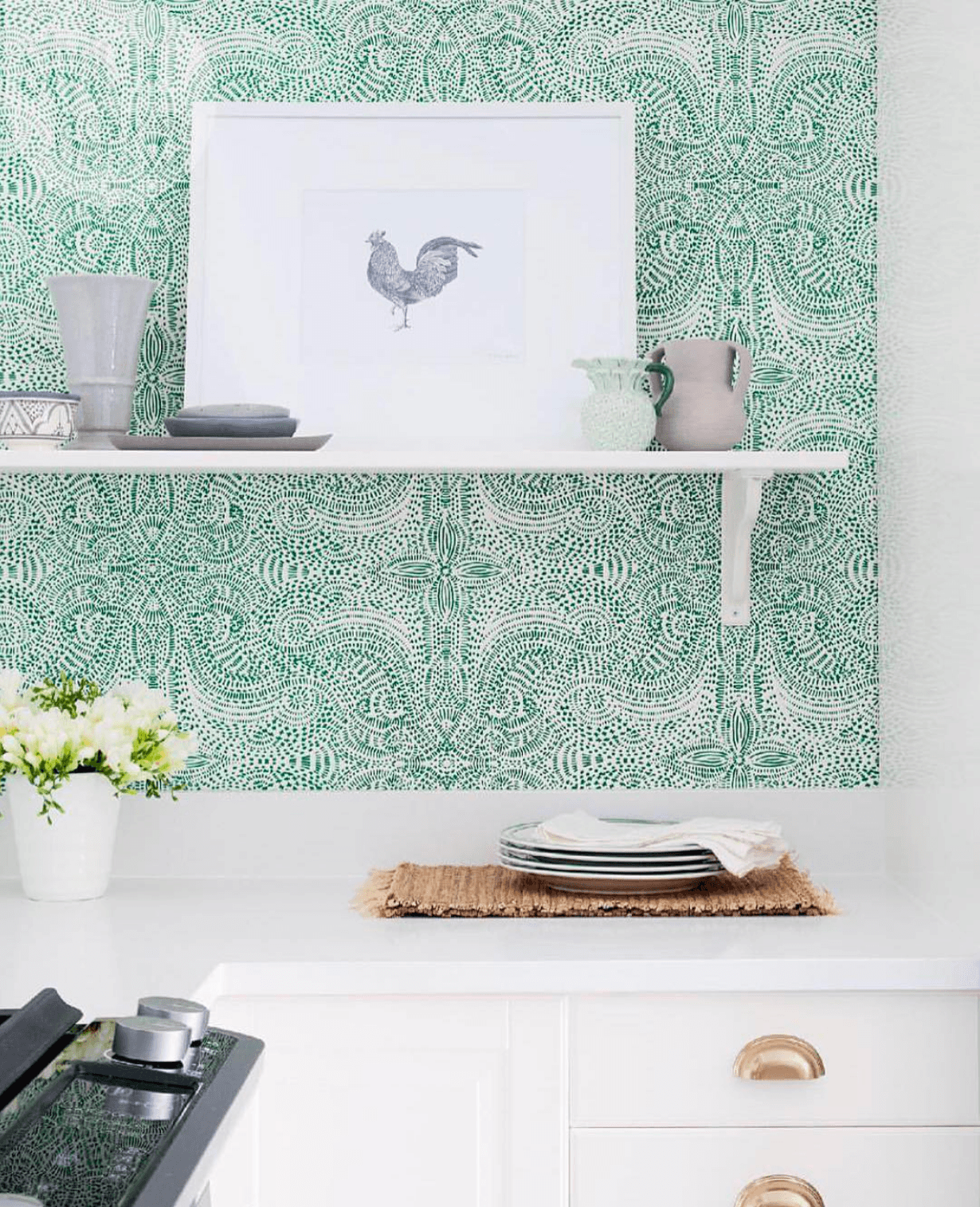 Our Favorite Patterns for the Kitchen | Andanza Green wallpaper | Laundry Studio | Hygge & West