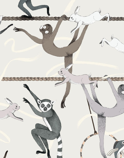 Balancing Act (Cream) wallpaper features colorful dancing monkeys and rabbits on a cream background