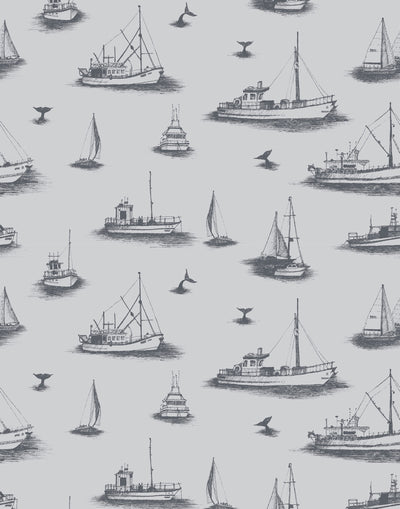 Ahoy! (Fog) wallpaper with charcoal gray ships and whale tales on a light gray background