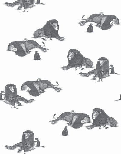 Mighty (Charcoal) wallpaper features gray lions and meerkats on a white background