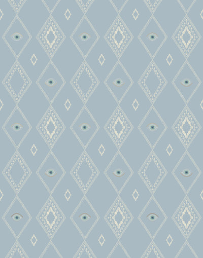 Evil Eye Mist Wallpaper features a delicate diamond pattern with evil eyes on a dusty blue background