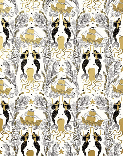 Mermaids (Gold) wallpaper | Mermaids, fish, octopi and ships float in this charming design | Gold and black artwork on an off white ground