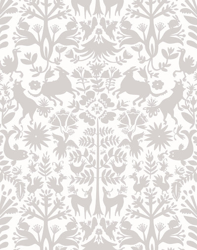 Folklore (Pewter) wallpaper featuring a gray Otomi meets Scandinavian folk pattern on a white background