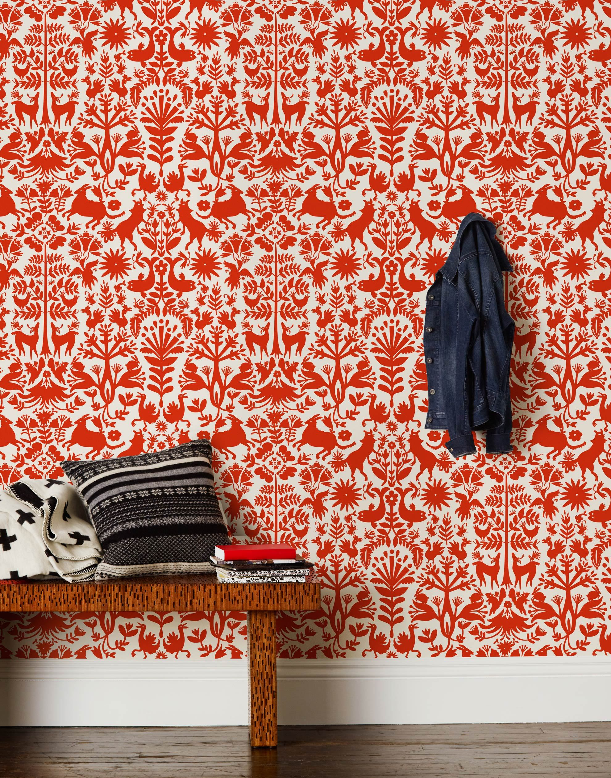 Otomi (Red) wallpaper featuring a tomato red Otomi meets Scandinavian folk pattern on a white background | Hygge & West x Emily Isabella