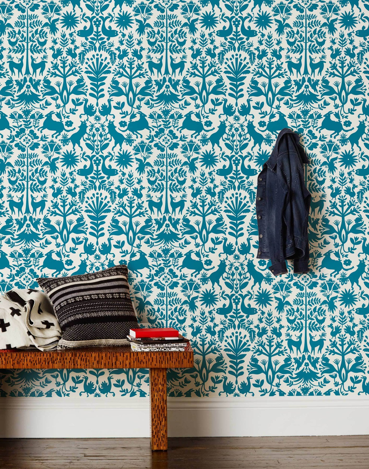 Otomi (Turquoise) wallpaper featuring a blue green Otomi meets Scandinavian folk pattern on a white background | Hygge & West x Emily Isabella