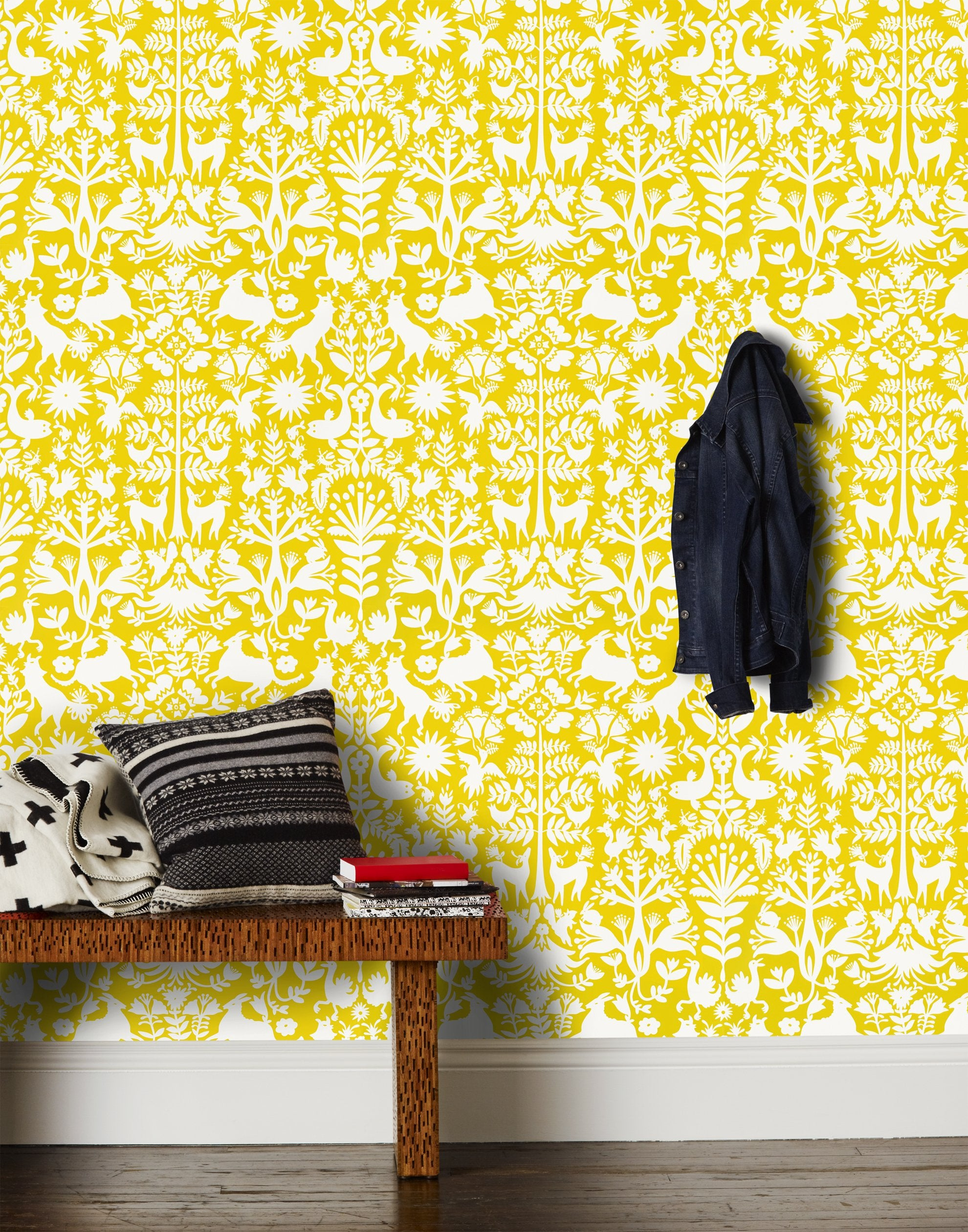 Otomi (Marigold) wallpaper featuring a white Otomi meets Scandinavian folk pattern on a yellow background | Hygge & West x Emily Isabella