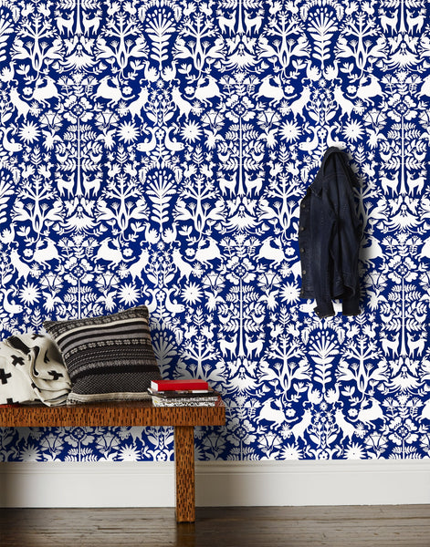 Otomi Navy Wallpaper Hygge Amp West
