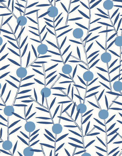 Bloom (Bluebell) Wallpaper featuring dusty blue dots and deep blue stems on a white ground in a modern, graphic floral