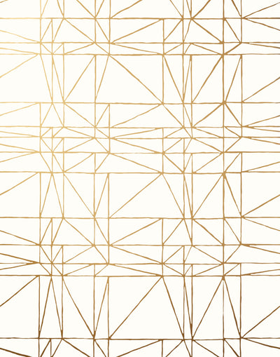 Strike (Gold) features modern, geometric metallic gold lines on white
