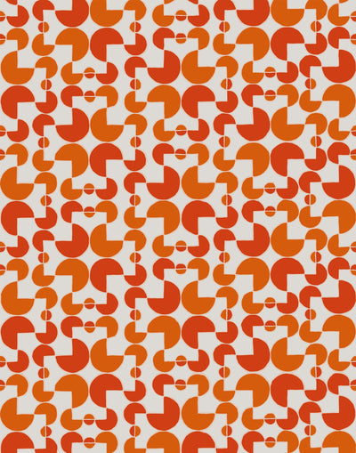 Arcade (Cayenne) wallpaper features modern, geometric lines and shapes in shades of orange