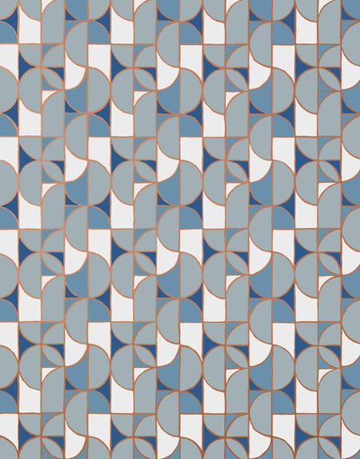 Slice (Blue) features modern, geometric lines and shapes in shades of blue