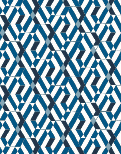 Quilt (Blue) features modern, geometric lines and shapes in shades of blue