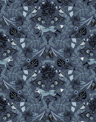 Piedmont (Indigo) wallpaper with dusty blue foxes and rabbits