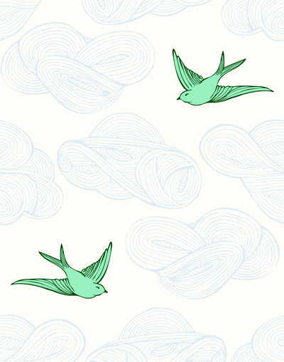 Daydream (Green) features a pattern of flying birds and floating clouds in green and blue white