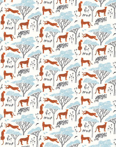 Serengeti (Orange) wallpaper features cheetahs, birds and African trees in orange and blue on white illustrated by Julia Rothman