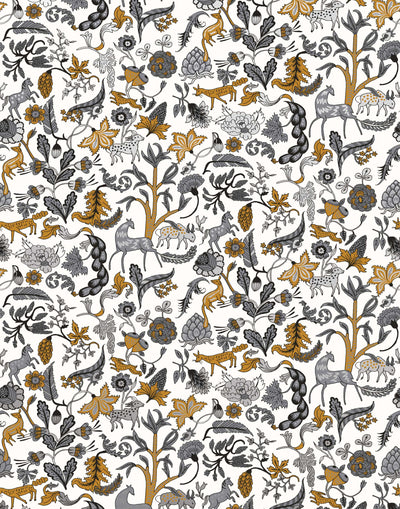 Foret (Charcoal) features magical animals and flowers in silver, tan and gray on white designed by Julia Rothman