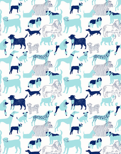 Dog Park (Blue) wallpaper featuring illustrated dogs in shades of blue on white designed by Julia Rothman