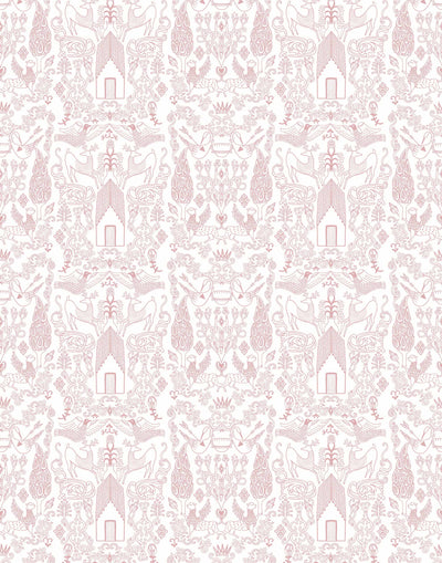 Nethercote (Rose) features a pink on white pattern of a country home and garden illustrated by Julia Rothman