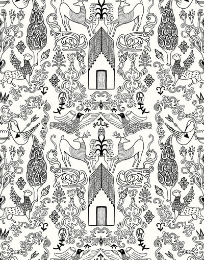Nethercote Large (Black) features a black on white pattern of a country home and garden illustrated by Julia Rothman