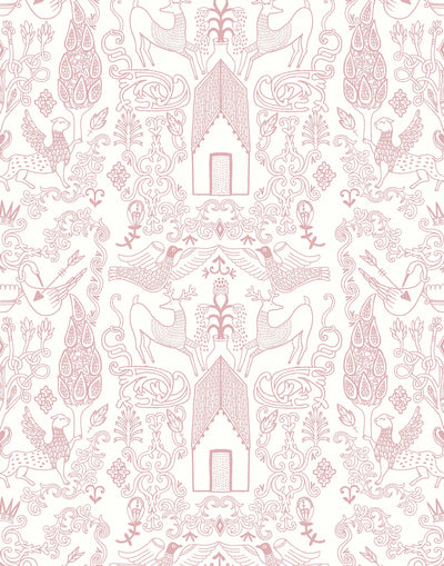 Nethercote Large (Rose) features a pink on white pattern of a country home and garden illustrated by Julia Rothman