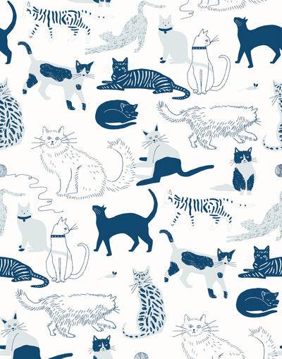 Cat's Meow (Blue) wallpaper featuring illustrated cats in shades of blue designed by Julia Rothman