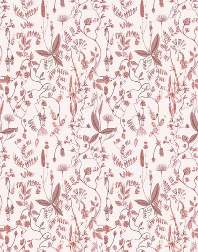 Sonoma (Blush) wallpaper with shades of mauve and taupe flowers and leaves on a pink background