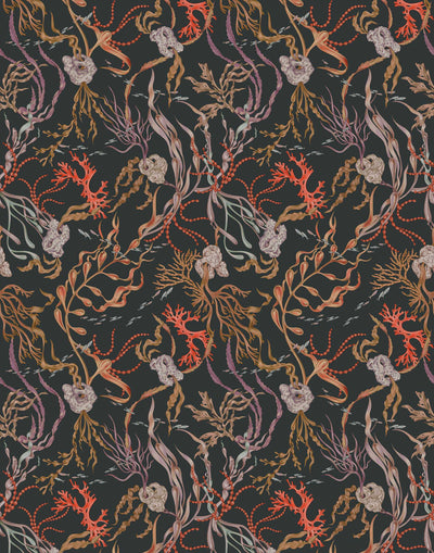 Atoll (Coral) wallpaper features shades of orange, purple, brown and green seaweed and coral on a soft black background