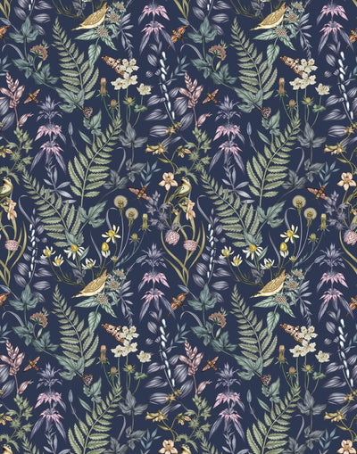 Secret Garden (Amethyst) wallpaper features shades of green, brown, purple, and pink plants, birds and butterflies on dark purple background