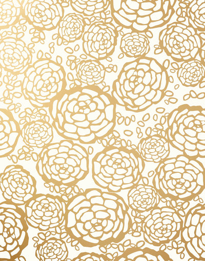 Petal Pusher (Gold) features metallic floral wood cut design on a white ground