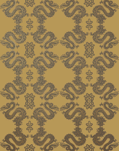 Fortune (Butterscotch) Wallpaper featuring charcoal and metallic gold line work on a golden ochre yellow background