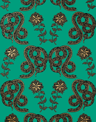 Serpentine (Emerald) Wallpaper featuring black and metallic gold snakes and flowers on a green background